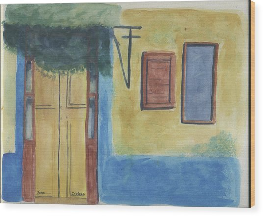 Yellow Door Wood Print by Jane Croteau