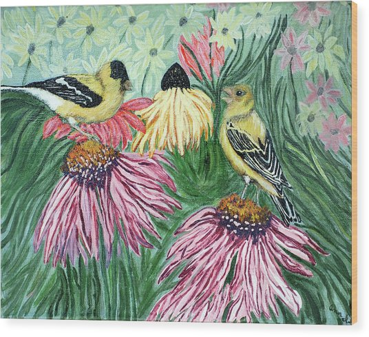 Yellow Finches Wood Print by Ann Ingham
