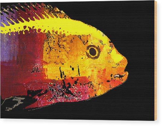Yellow Fish Abstract Wood Print