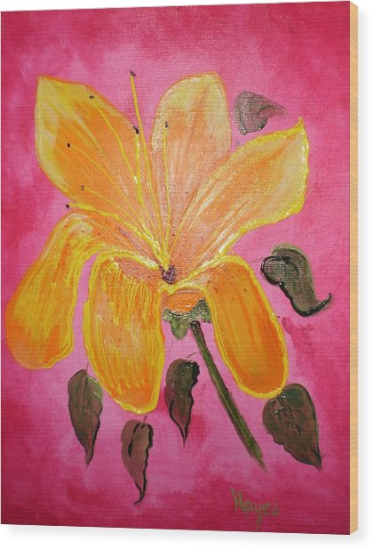 Yellow Flower Wood Print by Barbara Hayes