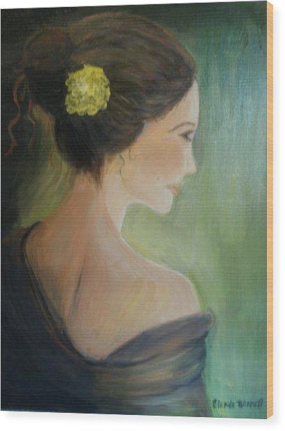 Yellow Flower Wood Print by Glenda Barrett