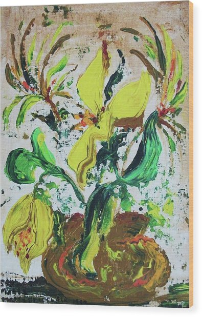 Yellow Flowers And Brown Pot Wood Print