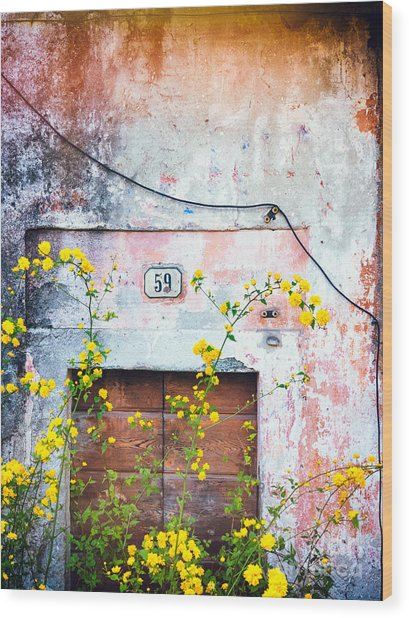 Yellow Flowers And Decayed Wall Wood Print