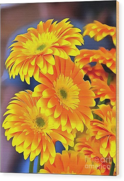 Yellow Flowers In Thick Paint Wood Print