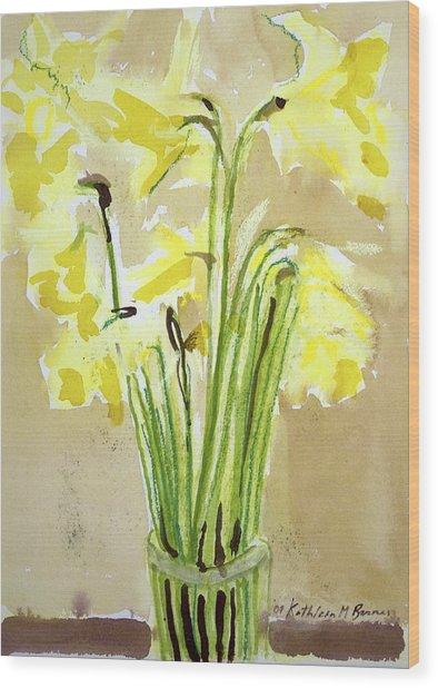 Yellow Flowers In Vase Wood Print