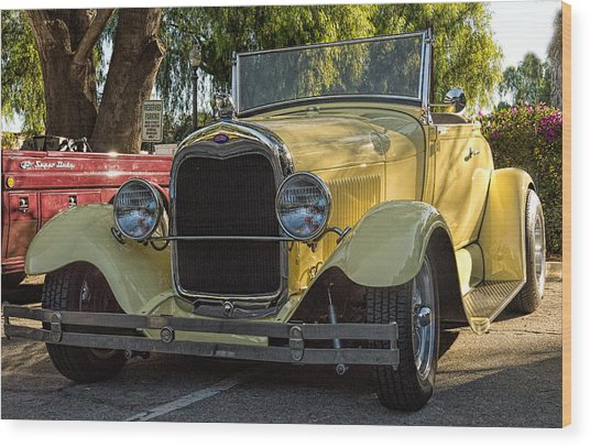 Yellow Ford Roadster Wood Print