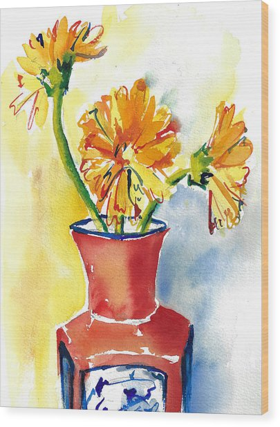 Yellow Gerbera Daisies In A Red And Blue Delft Vase Wood Print