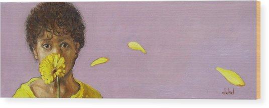 Yellow Gerbera On Purple Wood Print by Ixchel Amor