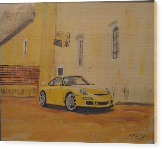 Yellow Gt3 Porsche Wood Print