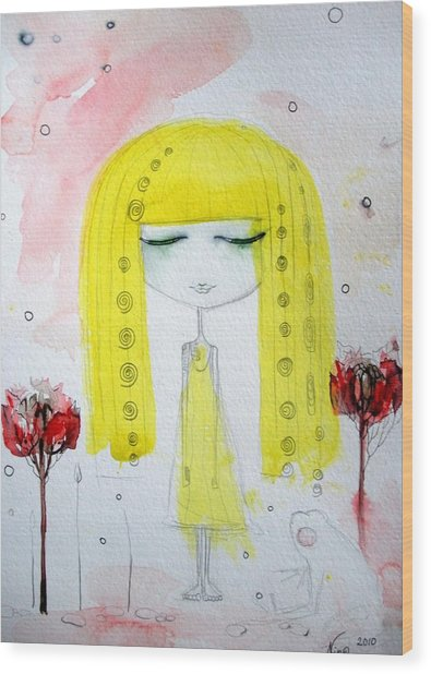 Yellow Hair Girl  Wood Print