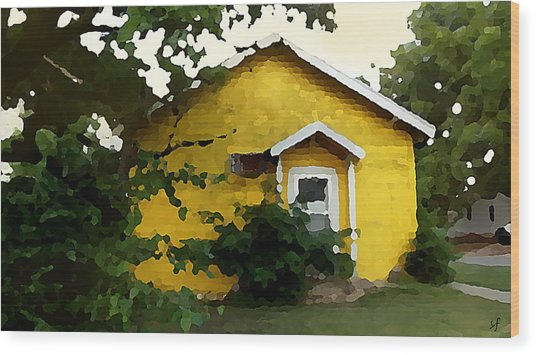 Wood Print featuring the digital art Yellow House In Shantytown  by Shelli Fitzpatrick