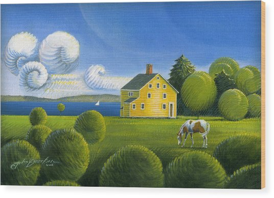 Yellow House Wood Print
