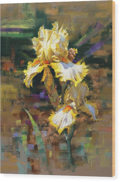 Yellow Iris II Wood Print