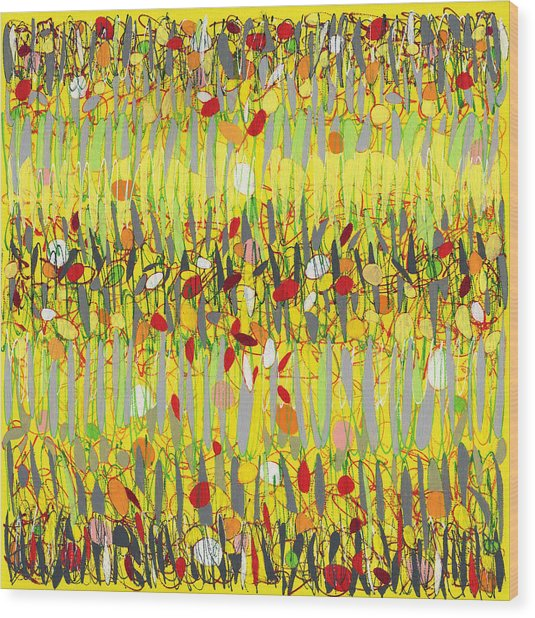 Yellow Jazz Wood Print