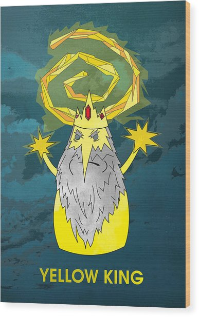 Yellow King True Detective Adventure Time Wood Print