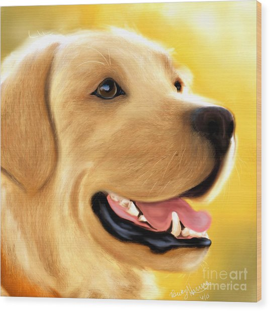 Yellow Lab Portrait Wood Print