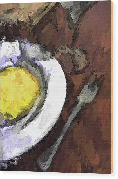 Yellow Lemon In A White Bowl With A Fork And A Wine Glass Wood Print
