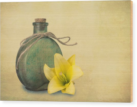 Yellow Lily And Green Bottle II Wood Print