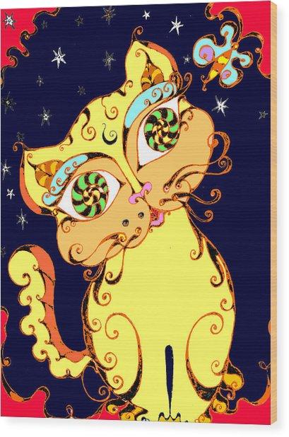 Yellow Loopy Cat Wood Print