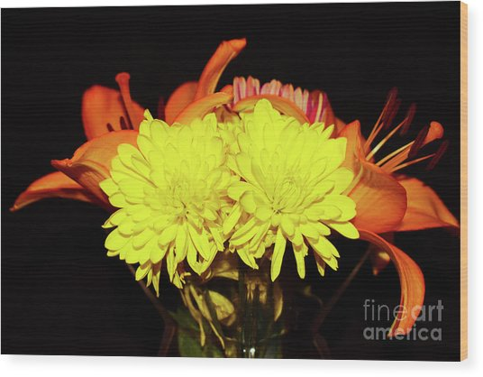 Yellow Mums And Orange Lilies  Wood Print