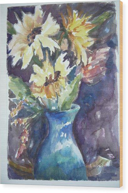 Yellow Mums Wood Print by Dorothy Herron