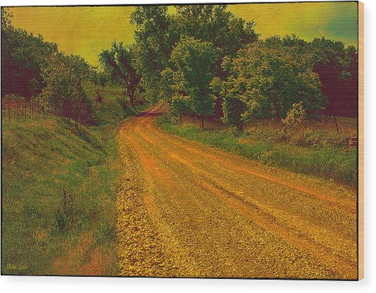 Yellow Oz Road Wood Print