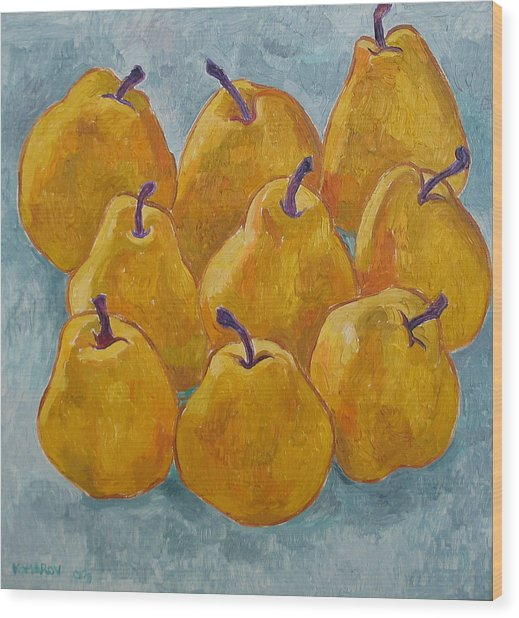 Yellow Pears Wood Print by Vitali Komarov