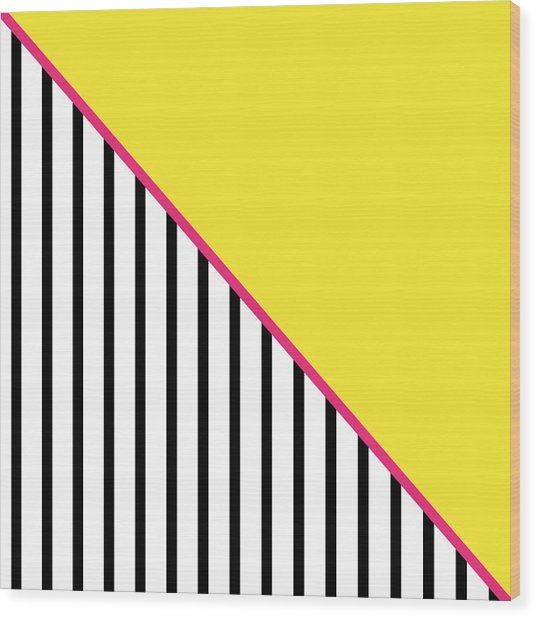 Yellow Pink And Black Geometric Wood Print