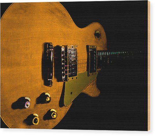Yellow Relic Guitar Hover Series Wood Print