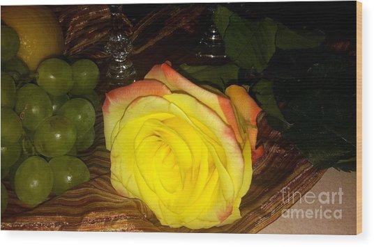 Yellow Rose And Grapes Wood Print