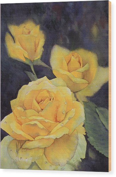 Yellow Rose Wood Print by Leah Wiedemer