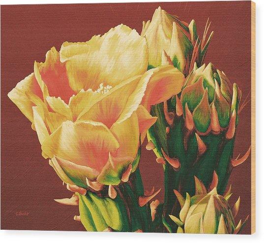 Yellow Rose Of The Desert Wood Print