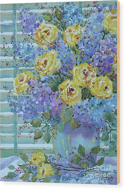 Yellow Roses And Lilacs Wood Print