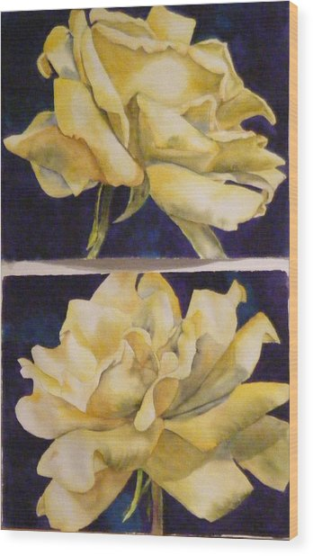 Yellow Roses Diptych Wood Print