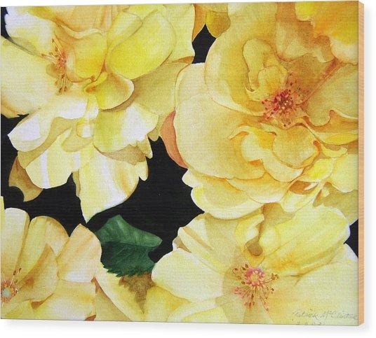 Yellow Roses Wood Print by Patrick McClintock