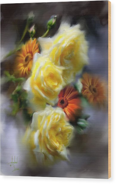 Yellow Roses Wood Print by Stephen Lucas
