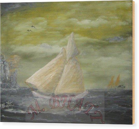Yellow Sail Boat Wood Print by M Bhatt