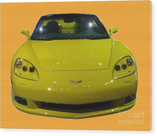 Yellow Sports Car Front Wood Print