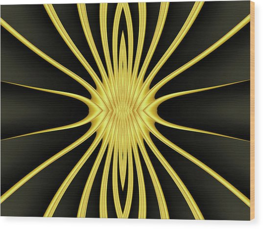 Yellow Starburst On Black Wood Print by Myxtl Turnipseed