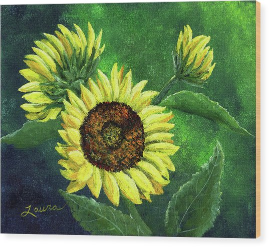 Yellow Sunflowers On Green Wood Print by Laura Iverson