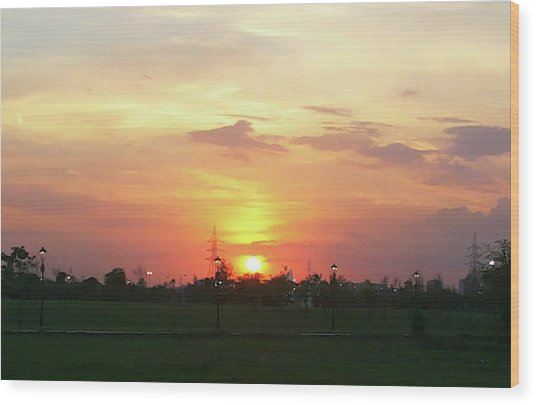 Yellow Sunset At Park Wood Print
