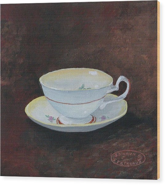 Yellow Teacup Wood Print by Sharon Steinhaus