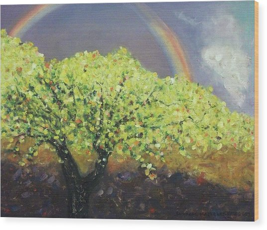 Yellow Tree And Purple Sky Wood Print by Suzanne  Marie Leclair