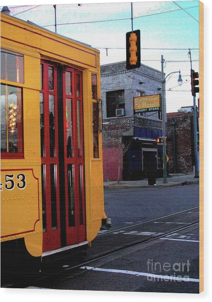Yellow Trolley At Earnestine And Hazels Wood Print