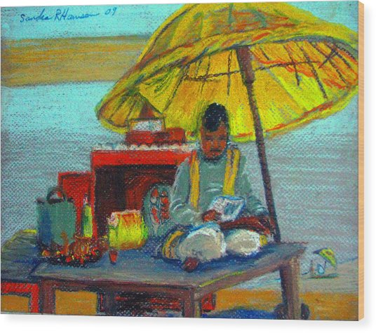 Yellow Umbrella Wood Print by Art Nomad Sandra  Hansen