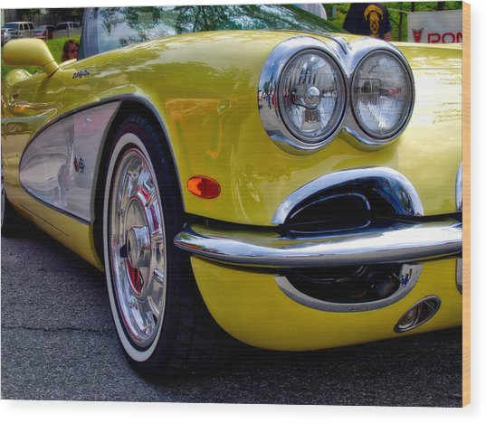 Yellow Vette Wood Print