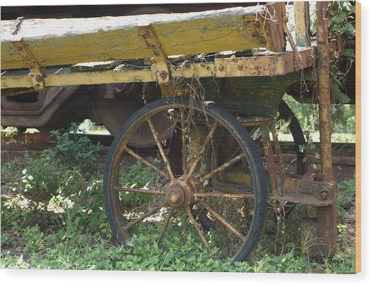 Yellow Wagon Wood Print by Dennis Stein