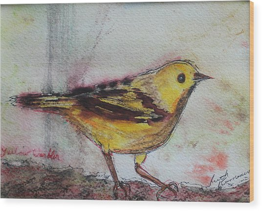 Wood Print featuring the painting Yellow Warbler by Ruth Kamenev