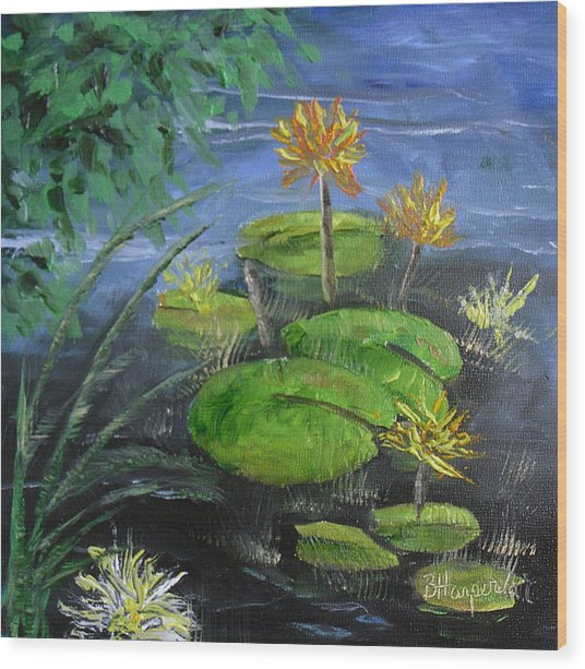 Yellow Water Lilies Wood Print by Barbara Harper