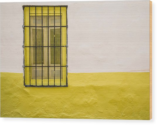 Yellowed Wall Wood Print